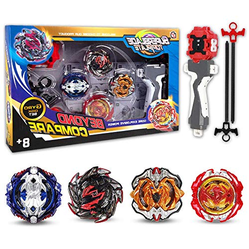 Innoo Tech Combat Gyro Burst | 4 Pieces Speed Gyro Metal Combat Gyro Set | 4D Fusion Model Burst Evolution Combination Series with 2 Launcher Toys for Kids