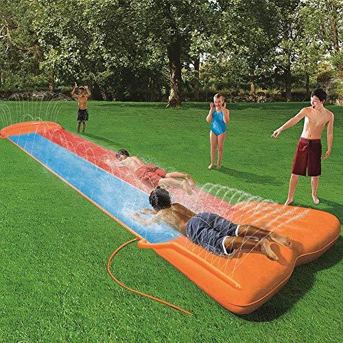 Wasserrutsche für Kinder mit Sprinkler für den Garten, doppelte Wasserrutschmatte Große und lange aufblasbare Sommerspray-Spielzeugrutsche und Rutschmatte für Kinder Jungen Mädchen im Freien