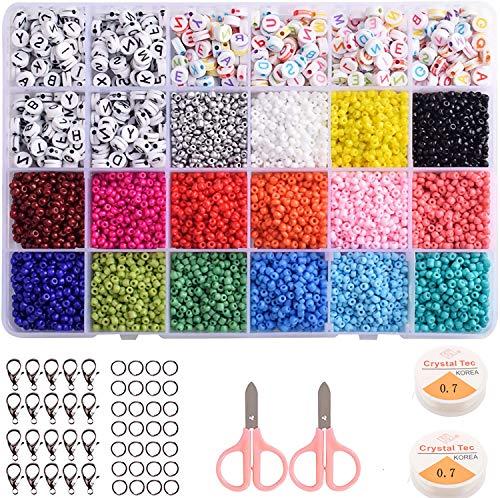 Cuentas de Colores 3mm Mini Cuentas,Collares Cuentas Letras Redondas Cuentas,para Hacer Collares Pulseras Regalo (24 Colores)