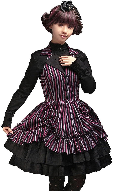 Hugme Multi color Drawstring VNeck Sleeveless Polyester Lolita Dress