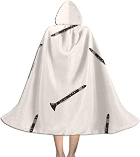 Nail Music Clarinet Kids Hooded Cloak Cape for Halloween Christmas Party,Child's Cosplay Witch Wizard Vampire Costumes with Hat