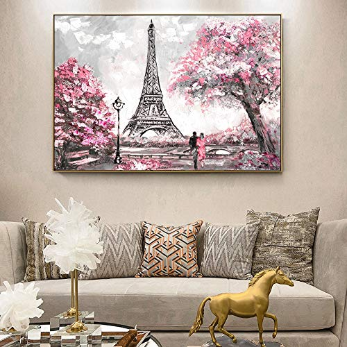 QQCYWZK Sin Marco Street View of Paris Lienzo ngs en la Pared Carteles e Impresiones Paris Tower Wall Art lienzos para Sala de Estar 50x70cm