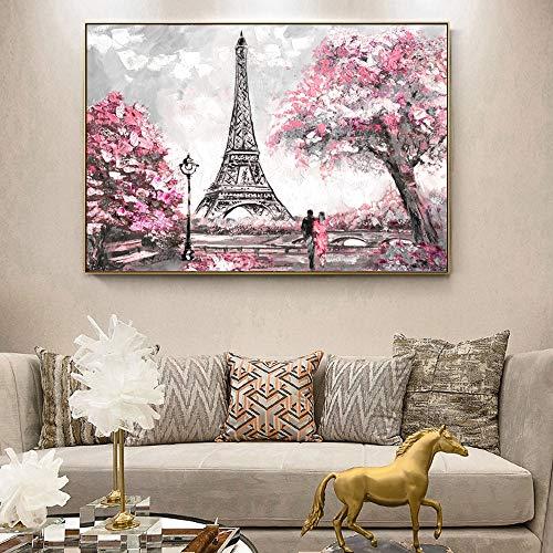 QQCYWZK Sin Marco Street View of Paris Lienzo ngs en la Pared Carteles e Impresiones Paris Tower Wall Art lienzos para Sala de Estar 50x70cm