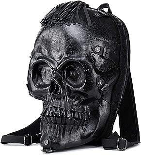 Sturdy Fashian Large Capacity Travel Shoulder Handbag Man Handbag Computer Backpack Personality Skull Large Capacity (Color : Black)