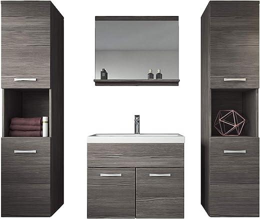 Badplaats B.V. Badezimmer Badmöbel Set Montreal XL 60 cm Waschbecken Bodega – Unterschrank Hochschrank Waschtisch Möbel