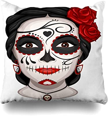 Day of the Dead Cushion Cover 16x16 inch 40cm Mexican Sugar Skull Flowers Multi