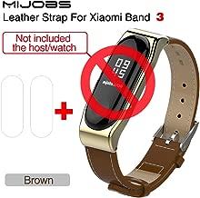 Mijobs for Xiaomi mi Band 3 Wrist Strap Belt Genuine Leather Wristband for Mi Band3 Smart Bracelet for Xiaomi Band 3 Accessories (Brown add Film)