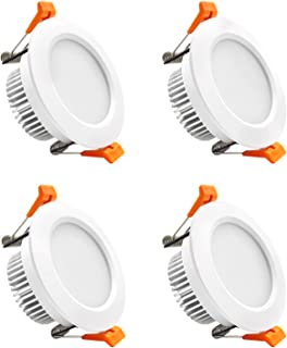 YGS-Tech 3 Inch LED Recessed Lighting Dimmable Downlight, 5W(40W Halogen Equivalent), 5000K Daylight White, CRI80, LED Ceiling Light with LED Driver (4 Pack)