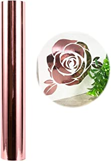 Holographic Craft Vinyl Chrome Rose Gold Vinyl Roll – Huge Glossy Adhesive Permanent Rose Gold Vinyl Rolls – 1x5FT Vinyl Works with Cricut and Other Cutters