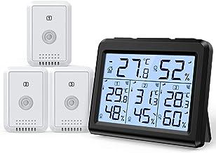 AMIR Termômetro interno e externo, monitor de temperatura e umidade com 3 sensores sem fio, medidor de umidade com luz de ...