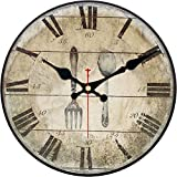 MEISTAR Home Wall Clock,Vintage Retro Style Tableware Design Wooden 12 Inch Large Numerals Round Wall Clock for Kitchen,Bedroom,Living Room,Coffee Bar