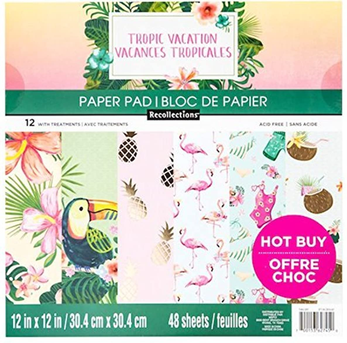 """Tropic Vacation Scapbooking Paper Pad 12"""" x 12"""