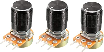 uxcell WH148 3Pcs 1K Ohm Variable Resistors Single Turn Rotary Carbon Film Taper Potentiometer with Knob
