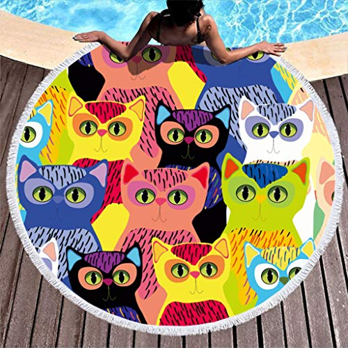RQPPY Quaste Beach Blanket Colorful Cats Sand Proof Tapestry Picknick Decke Mat