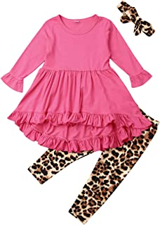 Toddler Kid Baby Girl Outfit Long Sleeve Tunic Ruffle Solid Color Dress Top Leopard Legging Pants Headband Fall Clothes Set