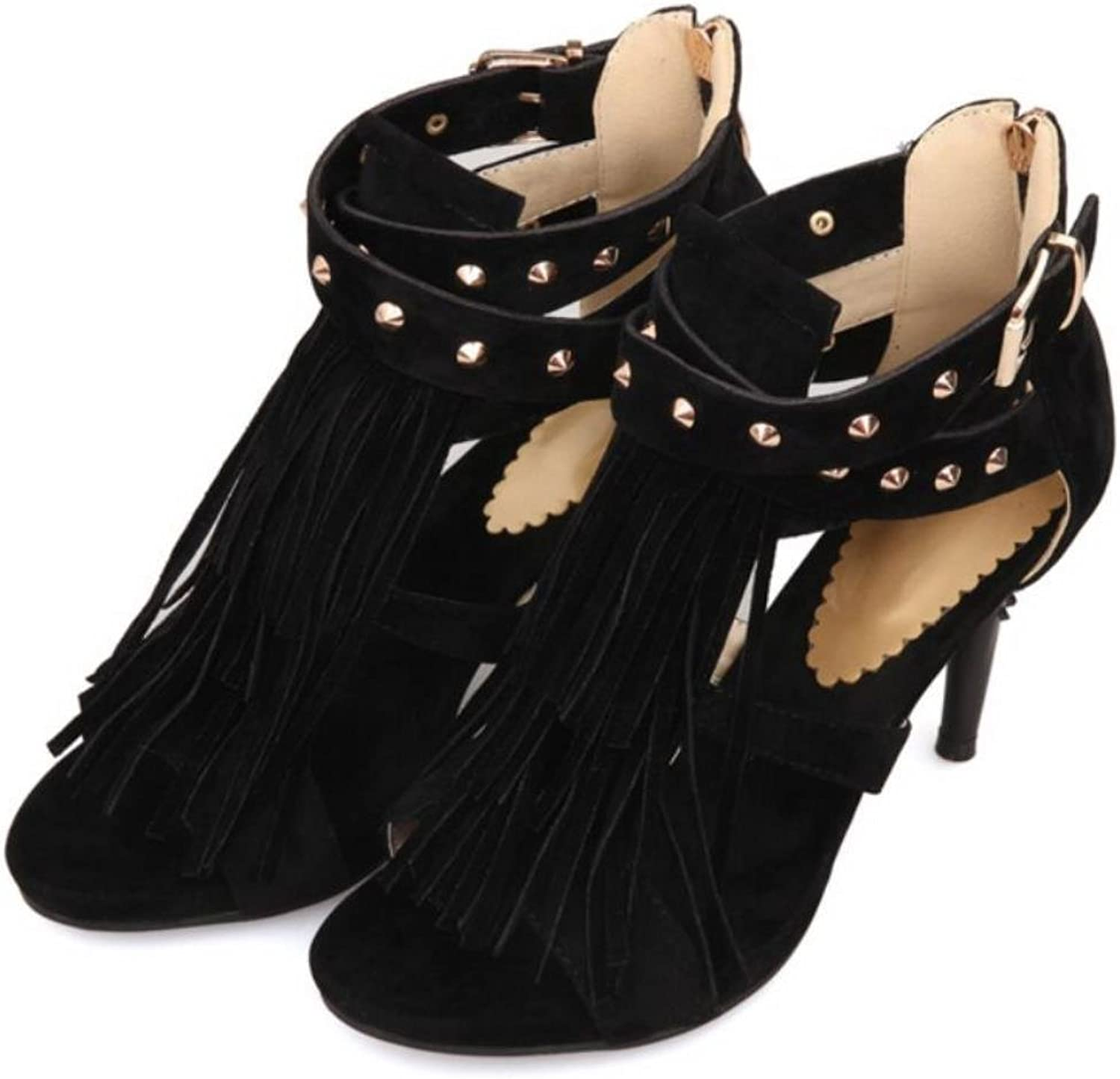 KARINLUNA 4 colors Black Red Sexy Women Tassel Sandals bluee Purple Ladies High HeelS Rivets shoes Woman Plus Big Size 32-43