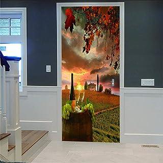LOVEJJ Stickers de Porte 3D Paysages Déco Murale Qualité HD PVC Douche Bureau Salon Décoration Couloir Peinture Murale DéC...