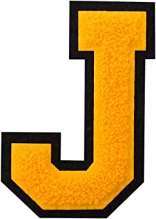 J - Gold on Black - 4 1/2 Inch Heat Seal/Sew On Chenille Varsity Letter