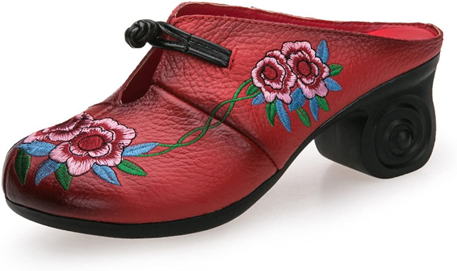 JINGFUTONG Retro Women's Embroidered Leather Block Heel Clogs Mule Sandals