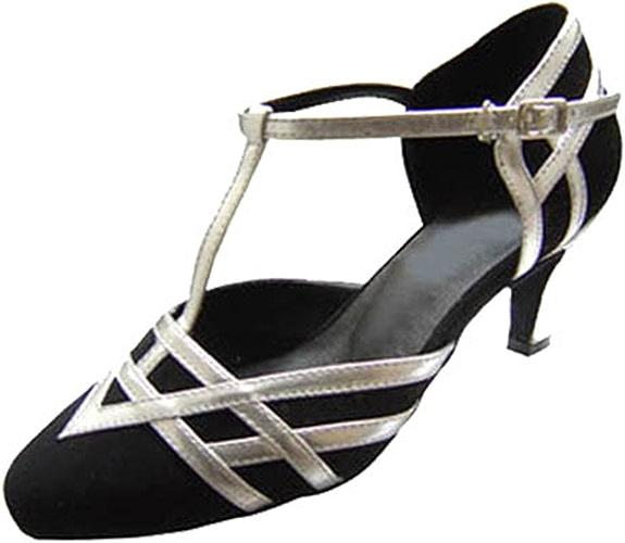 YFF Cadeaux femmes Dance danse danse latine Dance Tango chaussures 6CM,noir blanc,36