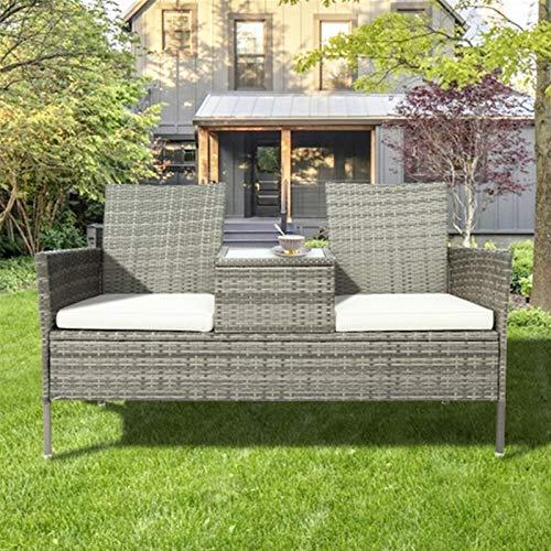 Juego de muebles de jardín de ratán, silla Campanion de ratán de 2 plazas con mesa de centro de vidrio templado para todo tipo de clima, sofá de mimbre para patio, piscina