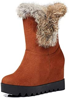Women Knee High Bootie Warm Plush Faux Suede Shearling Increase Within Winter Snow Long Boots
