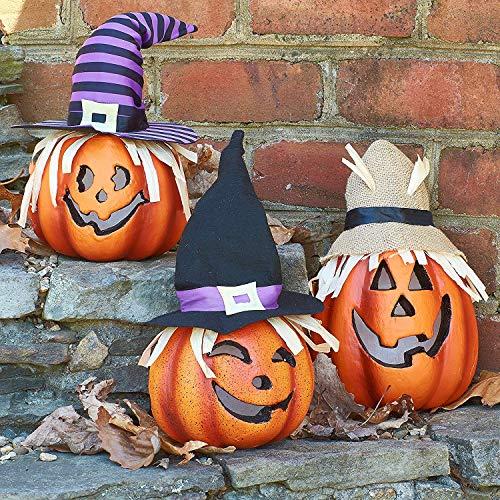 PREXTEX Juego de Tres linternas Jack-o'-Lantern iluminadas de Feliz Halloween Calabaza de Espuma Decorativa Adornos para Halloween para una Gran casa embrujada decoración de Halloween