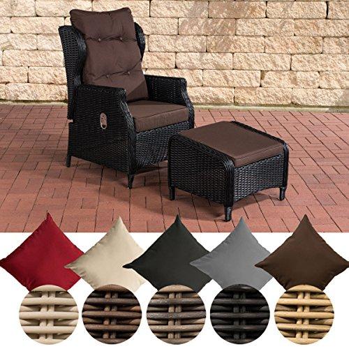 CLP Polyrattan-Sessel Breno Mit Sitzpolster Und Fußhocker I Relaxsessel Mit Verstellbarer Rückenlehne, Farbe:schwarz, Polsterfarbe:Terrabraun