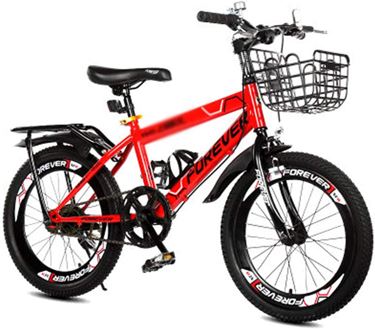Kids' Bikes Bicycle Bicycle Single Speed Bike Boy Bike Girl Bike Student Bike, High Carbon Steel Frame, 18inches (color   Red, Size   18inches)