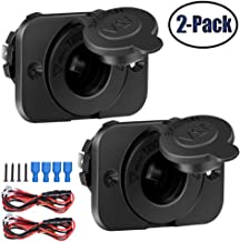 2 Pack Cigarette Lighter Socket adapter Car Power Outlet Socket Receptacle 12V Waterproof Plug with Wire Fuse DIY Kit By ZHSMS