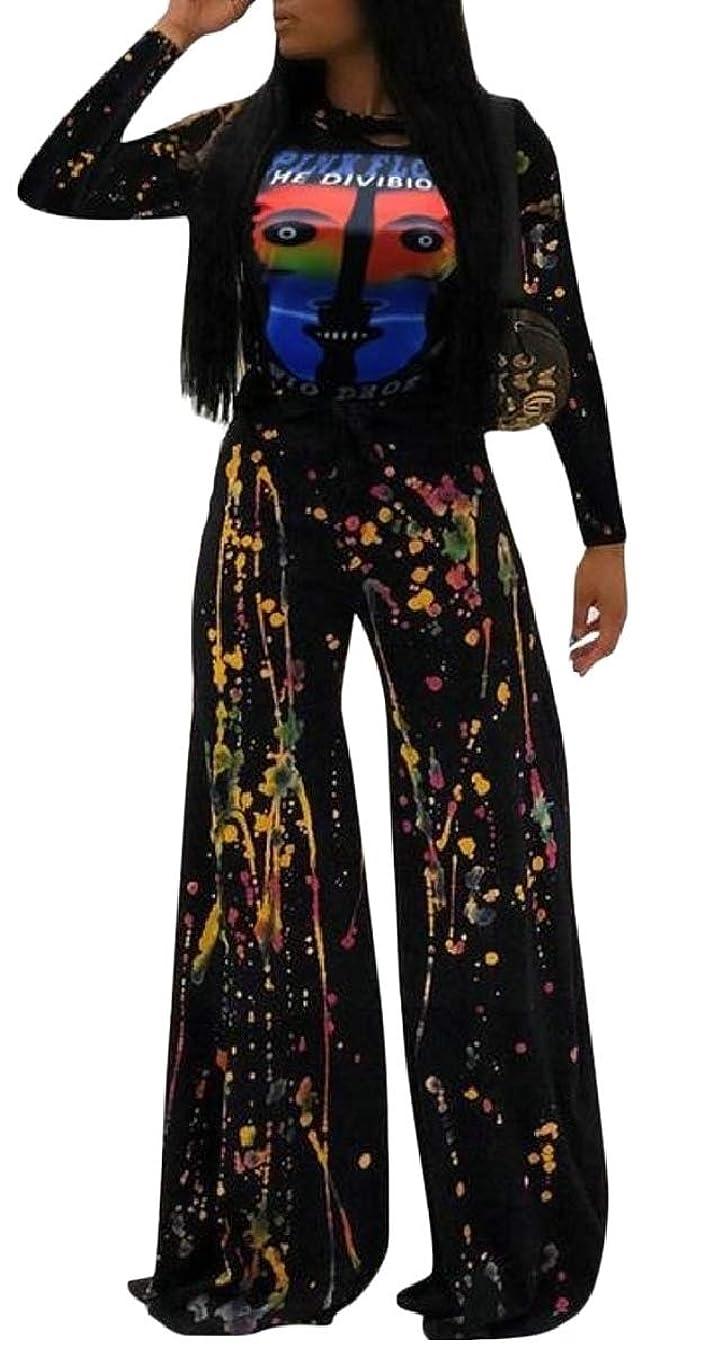 中国隠余裕がある婦人用2ピースアウトフィットロングスリーブプリントトップワイドレッグパンツセットジャンプスーツ