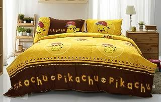 Tamegems Bedding Pikachu Cute Yellow Bed Sheet Set, 1 Fitted Sheet, 2 Pillow Case, 2 Bolster Case (Not Included Comforter) 040 Set B (Queen 60