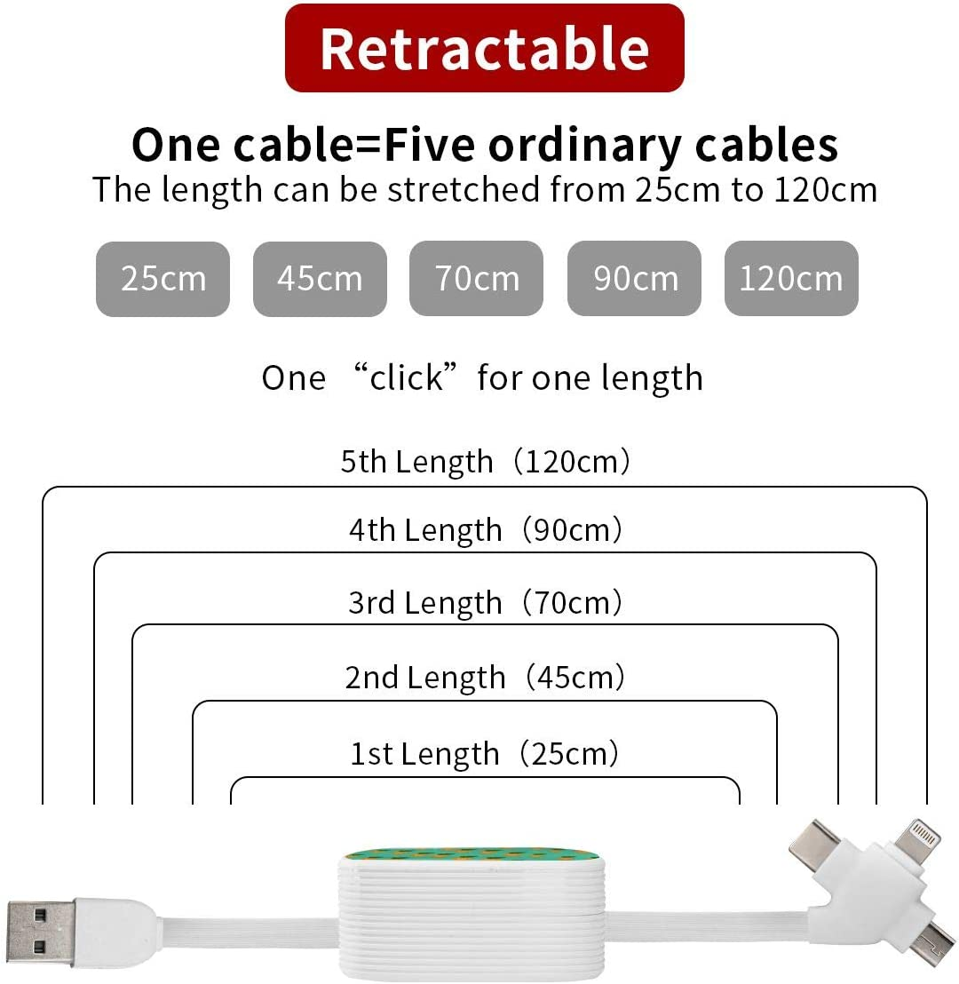 BlackBerry Retractable USB Fast Charging Cable Apple XS XR X 8 7 6s Moto Majestic Lion Portrait Nokia LG 3 in 1 Micro USB Type C Compatible for Samsung