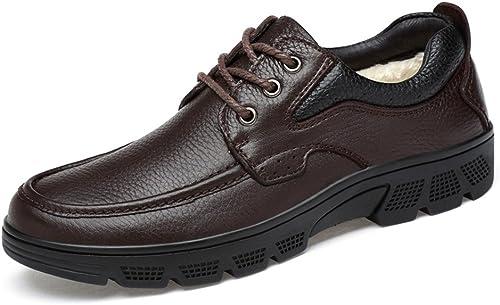2018 Ceinture légère aseismatique légère pour Homme Semelle Formelle Oxford Décontracté chaussures (Warm Velvet Facultatif) (Couleur   Warm marron, Taille   43 EU)