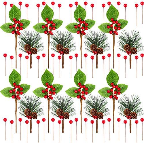 120 Piezas de Bayas Rojas Palos de Pino Artificiales Manojo de Bayas de Acebo de Invierno de Navidad con Manojo de Arándanos Falsos Hojas para Arreglos Floral Corona Árbol de Navidad Centro de Mesa