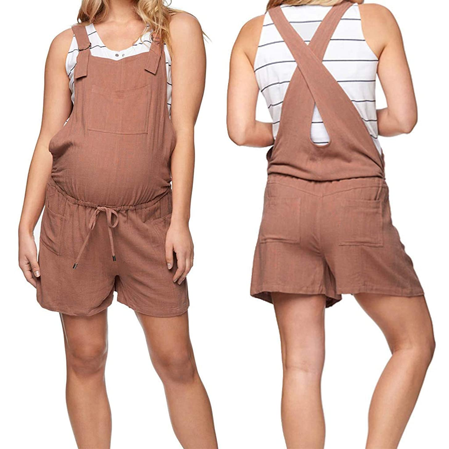 Women Maternity Jumpsuit Sleeveless Overalls Casual Harem Pants Wide Leg Low Crotch Loose Trousers for Summer