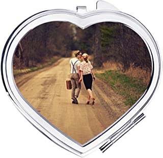Custom Photo Compact Mirror Personalized Picture Add Your Own Photo Text Travel Personal Makeup Mirrors Wedding Photo Purse Pocket Mirror Cosmetic Hand Mirror Bridesmaid Wedding Mothers Day Gifts