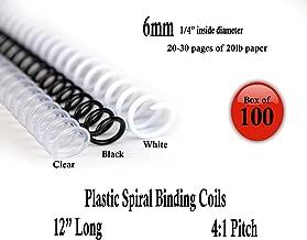 Spiral Binding Coils 6mm (¼ x 12) 4:1 [pk of 100] Black