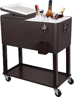 PAZINGA 80QT Patio Cooler Cart, Beverage Outdoor Cooler with Shelf, Bottle Cap Catch Bin & Bottle Opener, Brown.