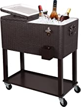 PAZINGA 80QT Patio Cooler Cart, Beverage Outdoor Cooler with Shelf, Bottle Cap Catch Bin & Bottle Opener, Brown.