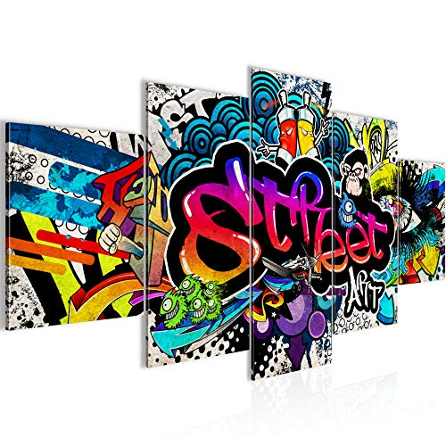 Runa Art - Bilder Graffiti 200 x 100 cm 5 Teilig XXL Wanddekoration Design Bunt 004551b