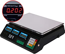 Price Calculating Scale Digital, Weighing Range Up to 40 Kg, with LCD Display and Baterry Power Cable, for Trade Weighs, Food, Meat, Fruit,Red