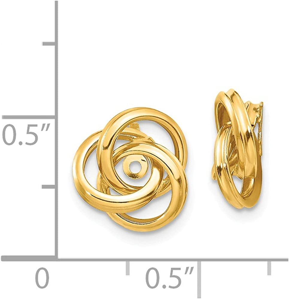 FB Jewels Solid 14K Yellow Gold Polished Love Knot Earring Jackets