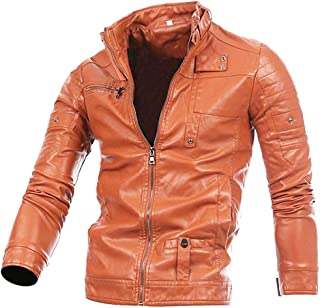 Zhouguoq Men Leather Jacket Autumn&Winter Biker Motorcycle Zipper Outwear Warm Coat Present Gift