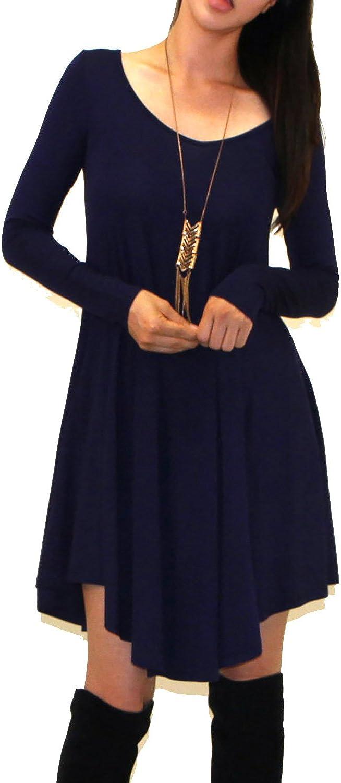 Vivicastle Women's USA Long Sleeve Casual Loose Flowy Simple T-Shirt Tunic Dress