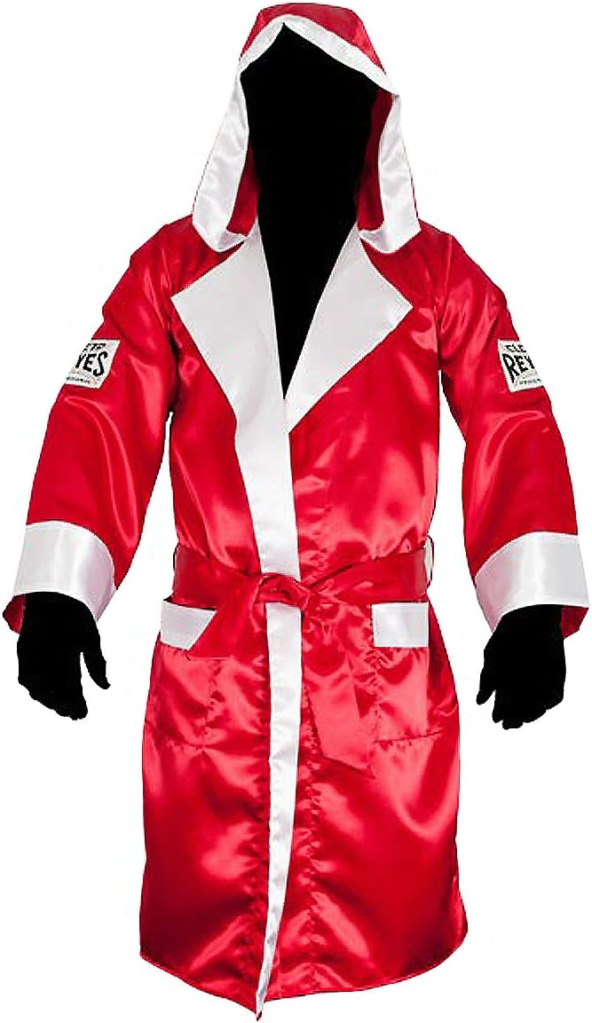 Amber Fight Gear Full Length Satin Boxing Robe White with Black Trim