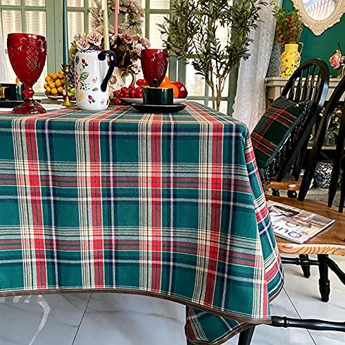 Jacquard Cuadros Manteles,Nórdico Ligero Lujo Mantel De La Tabla Polvo-Tabla De Prueba Cubierta Tela De Mesa De Café Casa Protector De Mesa De Picnic-Cuadrícula Verde 140 * 220cm