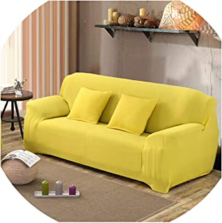 Solid Stretch Slipcover Three All-Inclusive Generic Leather Sofa Cushion Sofa Cover Towel Custom Summer Full cover1pcs,Yellow,Single seat Sofa