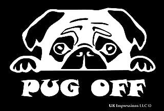 UR Impressions Pug Peeking - Pug Off Decal Vinyl Sticker Graphics for Cars Trucks SUV Vans Walls Windows Laptop|White|7.1 X 4.3 inch|URI440