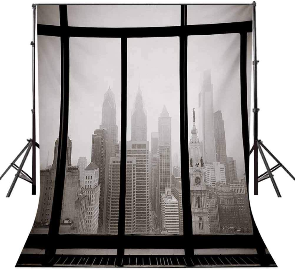 City 6x8 FT Backdrop Photographers,Philadelphia City Rooftop View Through Window Skyline Landmark Rooftop Travel Background for Baby Shower Bridal Wedding Studio Photography Pictures Dimgray and Blac